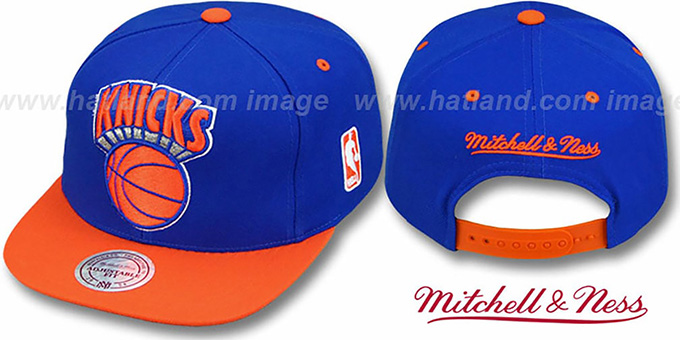 Knicks '2T XL-LOGO SNAPBACK' Royal-Orange Adjustable Hat by Mitchell and Ness : pictured without stickers that these products are shipped with