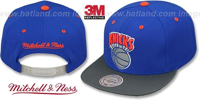 b2f0acb3c73640 Knicks 3M XL-LOGO SNAPBACK Royal-Grey Hat by Mitchell & Ness