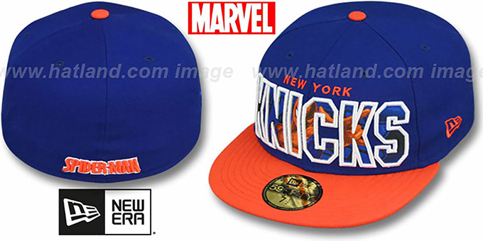 Knicks 'BIG WORD ACTION' Royal-Orange Fitted Hat by New Era : pictured without stickers that these products are shipped with