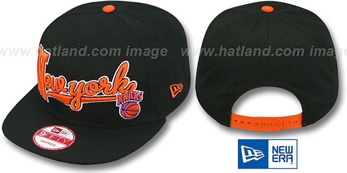 Knicks 'BLOCK-SCRIPT SNAPBACK' Black Hat by New Era : pictured without stickers that these products are shipped with