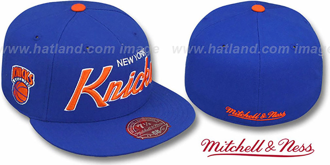 Knicks 'CLASSIC-SCRIPT' Royal Fitted Hat by Mitchell and Ness : pictured without stickers that these products are shipped with