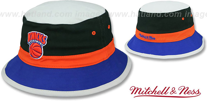 Knicks 'COLOR-BLOCK BUCKET' Black-Orange-Royal Hat by Mitchell and Ness : pictured without stickers that these products are shipped with