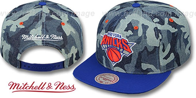 Knicks 'DENIM-CAMO SNAPBACK' Blue Hat by Mitchell and Ness : pictured without stickers that these products are shipped with