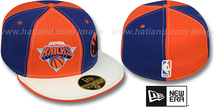 Knicks 'DOUBLE WHAMMY-2' Orange-Royal-White Fitted Hat by New Era : pictured without stickers that these products are shipped with