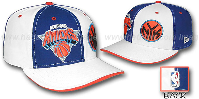 Knicks 'DOUBLE WHAMMY' Royal-White Fitted Hat : pictured without stickers that these products are shipped with