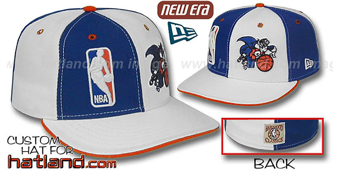 Knicks DW 'LOGOMAN' OLD-SCHOOL Royal-White Fitted Hat : pictured without stickers that these products are shipped with