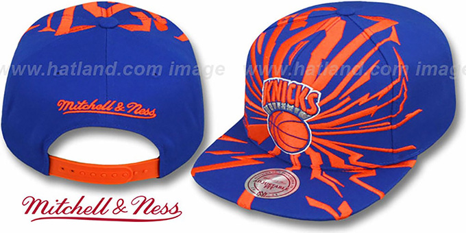 Knicks 'EARTHQUAKE SNAPBACK' Royal Hat by Mitchell and Ness : pictured without stickers that these products are shipped with