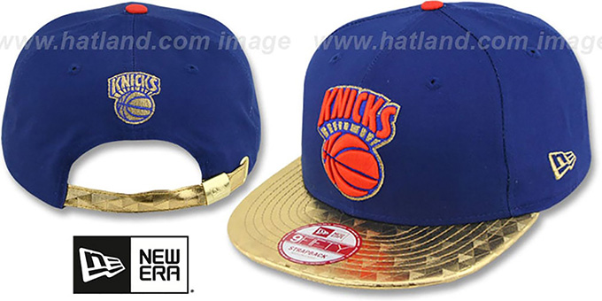 Knicks 'ETCHAVIZA STRAPBACK' Royal-Gold Hat by New Era : pictured without stickers that these products are shipped with