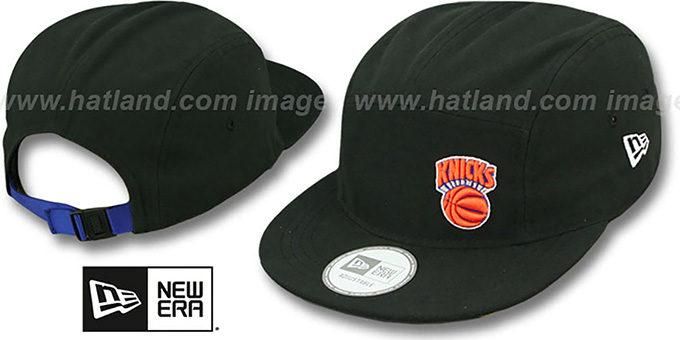 Knicks 'FLAWLESS CAMPER STRAPBACK' Black Hat by New Era : pictured without stickers that these products are shipped with