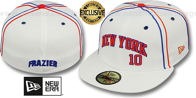Knicks FRAZIER 'TEAM-UP' White Fitted Hat by New Era : pictured without stickers that these products are shipped with
