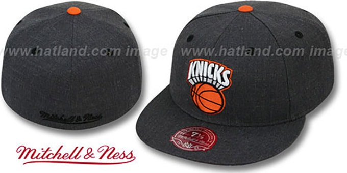 Knicks 'GREY HEDGEHOG' Fitted Hat by Mitchell & Ness : pictured without stickers that these products are shipped with