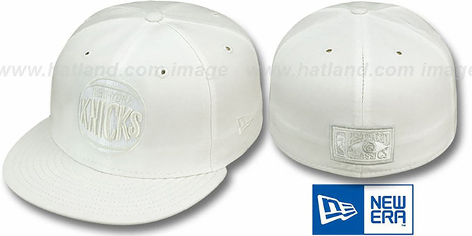 Knicks 'HARDWOOD FADEOUT' White Fitted Hat by New Era : pictured without stickers that these products are shipped with