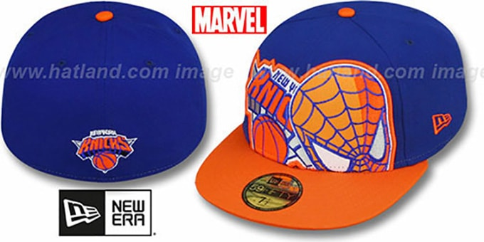 Knicks 'HERO-HCL' Royal-Orange Fitted Hat by New Era : pictured without stickers that these products are shipped with
