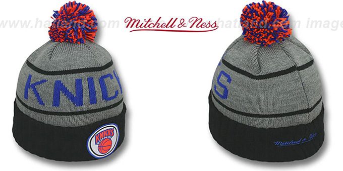Knicks 'HIGH-5 CIRCLE BEANIE' Grey-Black by Mitchell and Ness : pictured without stickers that these products are shipped with