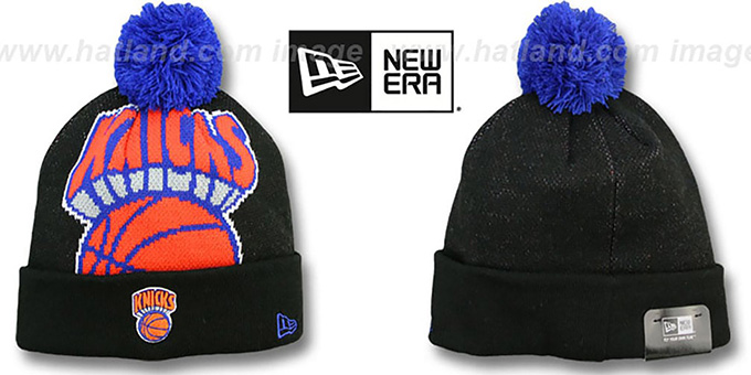 Knicks 'HWC-BIGGIE' Black Knit Beanie Hat by New Era : pictured without stickers that these products are shipped with