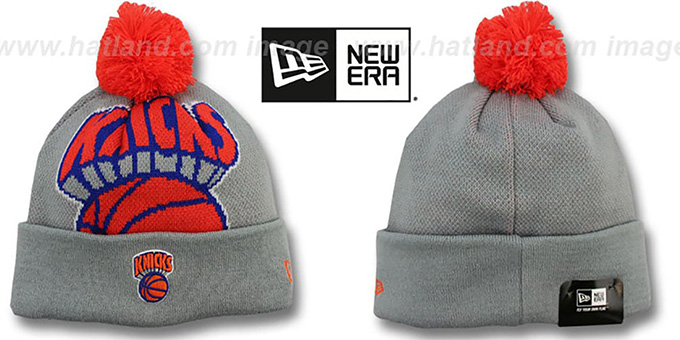 Knicks 'HWC-BIGGIE' Grey Knit Beanie Hat by New Era : pictured without stickers that these products are shipped with