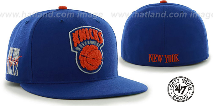 Knicks 'HWC CATERPILLAR' Royal Fitted Hat by 47 Brand : pictured without stickers that these products are shipped with