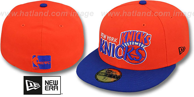 Knicks 'HWC-TIGHT' Orange-Royal Fitted Hat by New Era : pictured without stickers that these products are shipped with