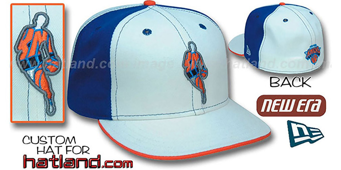 Knicks 'INSIDER PINWHEEL' White-Royal Fitted Hat by New Era : pictured without stickers that these products are shipped with