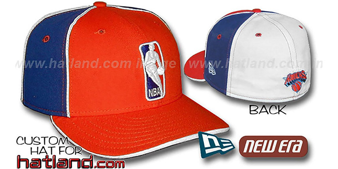 Knicks 'LOGOMAN-2' Orange-Royal-White Fitted Hat by New Era : pictured without stickers that these products are shipped with