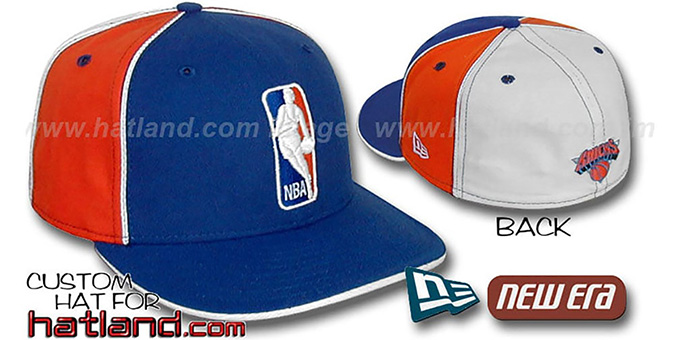 Knicks 'LOGOMAN-2' Royal-Orange-White Fitted Hat by New Era : pictured without stickers that these products are shipped with