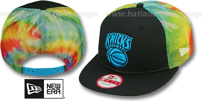 Knicks 'MESH TYE-DYE SNAPBACK' Hat by New Era : pictured without stickers that these products are shipped with