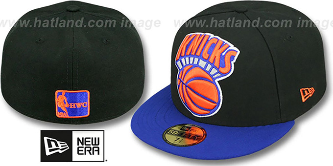 Knicks 'MIGHTY-XL' Black-Royal Fitted Hat by New Era : pictured without stickers that these products are shipped with