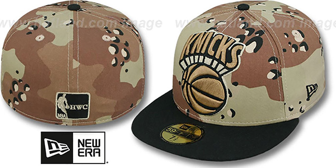 Knicks 'MIGHTY-XL' Desert Storm Camo Fitted Hat by New Era : pictured without stickers that these products are shipped with