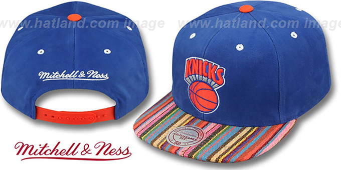 Knicks 'NATIVE-STRIPE SNAPBACK' Royal Hat by Mitchell & Ness : pictured without stickers that these products are shipped with