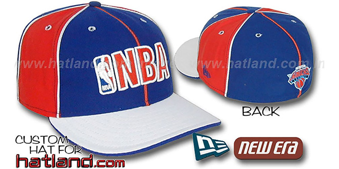 Knicks NBA 'PINWHEEL-3' Royal-Orange-White Fitted Hat : pictured without stickers that these products are shipped with