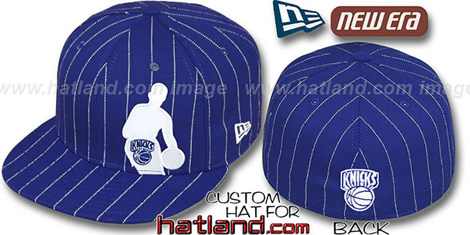 Knicks 'NBA SILHOUETTE PINSTRIPE' Royal-White Fitted Hat by New Era : pictured without stickers that these products are shipped with