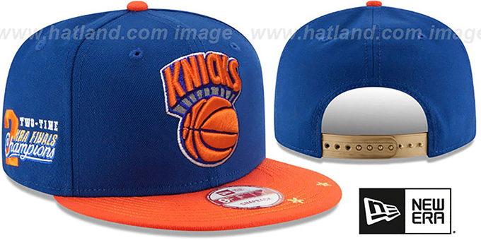 Knicks 'NBA STAR-TRIM SNAPBACK' Royal-Orange Hat by New Era : pictured without stickers that these products are shipped with
