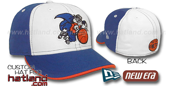 Knicks 'OLD SCHOOL PINWHEEL' White-Royal Fitted Hat : pictured without stickers that these products are shipped with