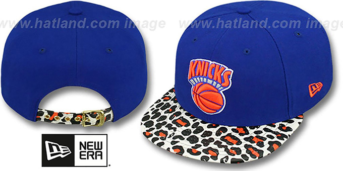 Knicks 'OSTRICH-LEOPARD STRAPBACK' Hat by New Era : pictured without stickers that these products are shipped with