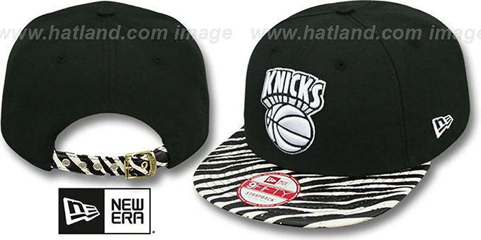 Knicks 'OSTRICH-ZEBRA STRAPBACK' Hat by New Era : pictured without stickers that these products are shipped with