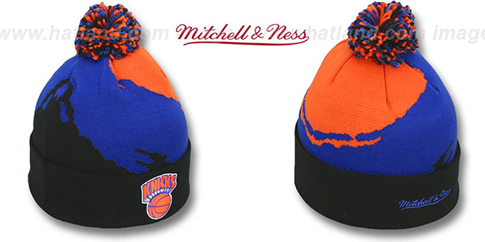 Knicks 'PAINTBRUSH BEANIE' by Mitchell and Ness : pictured without stickers that these products are shipped with