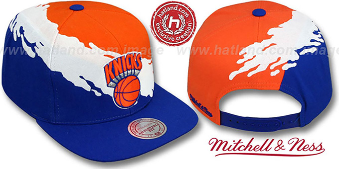Knicks 'PAINTBRUSH SNAPBACK' Orange-White-Royal Hat by Mitchell & Ness : pictured without stickers that these products are shipped with
