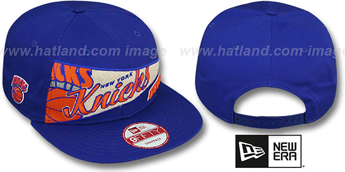 Knicks 'PENNANT SNAPBACK' Royal Hat by New Era : pictured without stickers that these products are shipped with