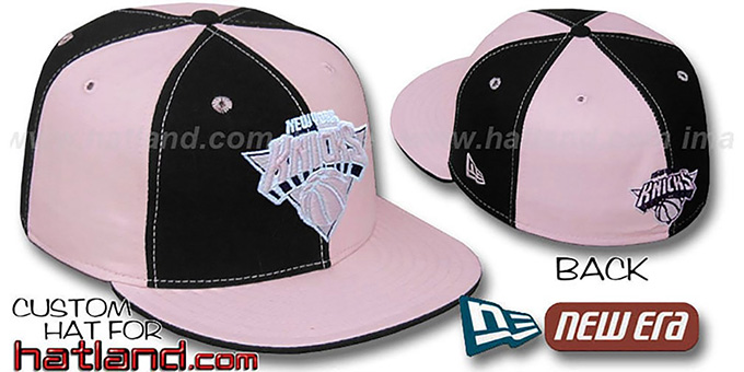 Knicks 'PINWHEEL' Black-Pink Fitted Hat by New Era : pictured without stickers that these products are shipped with
