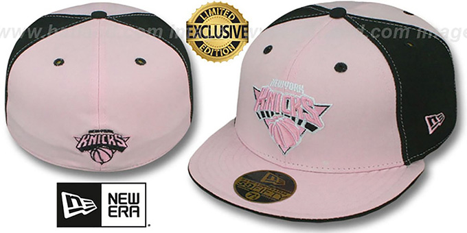 Knicks 'PINWHEEL' Light Pink-Black Fitted Hat by New Era : pictured without stickers that these products are shipped with