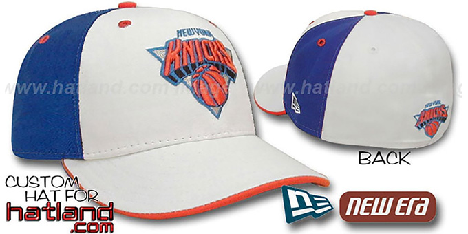 Knicks 'PINWHEEL' White-Royal Fitted Hat by New Era : pictured without stickers that these products are shipped with