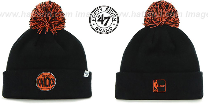 Knicks 'POMPOM CUFF' Black Knit Beanie Hat by Twins 47 Brand : pictured without stickers that these products are shipped with