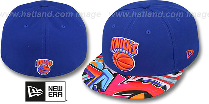 Knicks 'REAL GRAFFITI VIZA-PRINT' Royal Fitted Hat by New Era