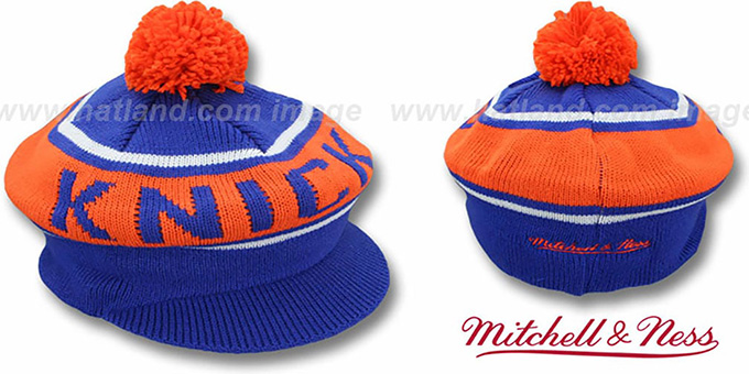 Knicks 'RERUN KNIT BEANIE' by Mitchell and Ness : pictured without stickers that these products are shipped with