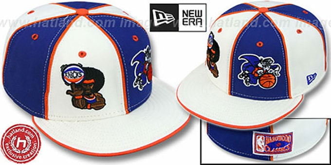 Knicks 'RETROMAN DOUBLE WHAMMY' White-Royal Fitted Hat : pictured without stickers that these products are shipped with