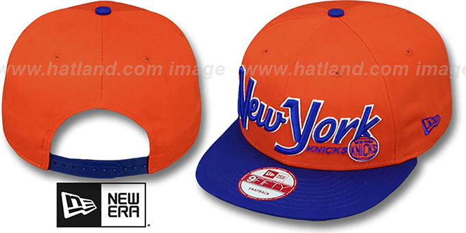 Knicks 'SNAP-IT-BACK SNAPBACK' Orange-Royal Hat by New Era : pictured without stickers that these products are shipped with
