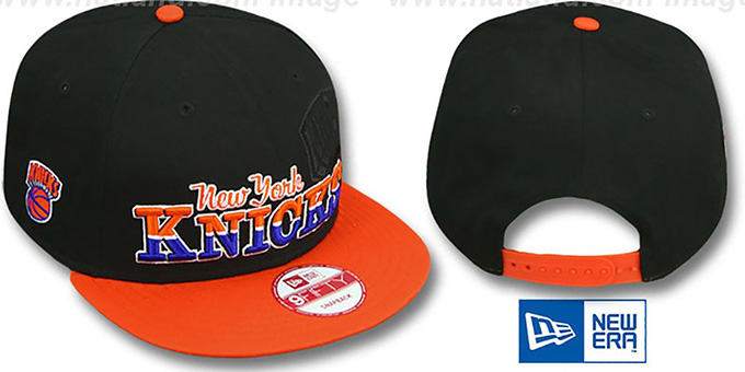 Knicks 'SPLIT-BLOCK SNAPBACK' Black-Orange Hat by New Era : pictured without stickers that these products are shipped with