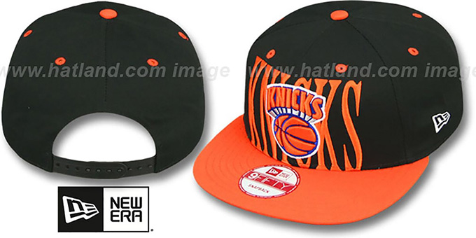 Knicks 'STEP-ABOVE SNAPBACK' Black-Orange Hat by New Era : pictured without stickers that these products are shipped with