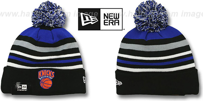 Knicks 'STRIPEOUT' Knit Beanie Hat by New Era : pictured without stickers that these products are shipped with