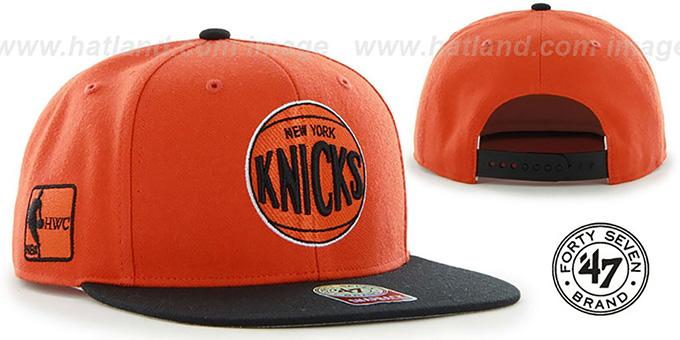 48c30a21ec8 Knicks  SURE-SHOT SNAPBACK  Orange-Black Hat by Twins 47 Brand